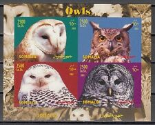 """ Somalia, 2003 issue. Various Owls IMPERF sheet."