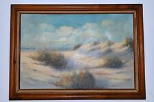 LOOMIS DEAN BIRDS on WHITE SANDS BEACH 40 x 28 OIL ON CANVAS PAINTING BEAUTIFUL