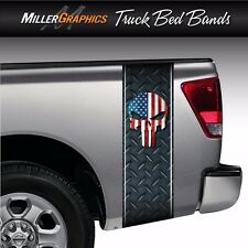 Punisher Skull American Flag Diamond Plate Truck Bed Band Stripe Decal Graphic