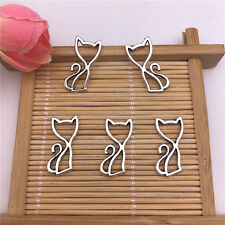 Wholesale 20pcs Tibet Silver Hollow Cat Charm Pendant Beaded Jewelry