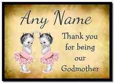 Vintage Baby Twin Niñas Madrina gracias Personalizados Mantel Individual