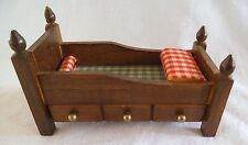 Vintage Doll House Trundle Bed with Drawer Bedding 1/12 scale Concord Miniatures