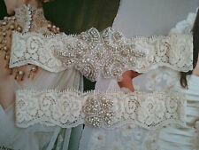 Wedding Garter, Rhinestone Garter Set, Ivory Lace, Keepsake & Toss Garter Set