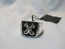 John Hardy Men's Sterling Silver Batu Dayak Signet Ring Etched Volcanic Rock
