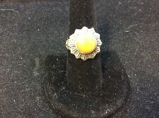 VINTAGE STERLING SILVER HONEY JADE RING SIZE 7.75
