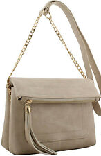 Beige Ladies Women's Zip Top Double Compartment Fold Over Clutch Fashion Handbag