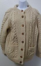 Island Crafts Cardigan Sweater 100% Wool Thick Cable Knit Aran Sweater Button