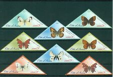 Ivory Coast Butterflies Schmetterlinge Insects 16 MNH triangle stamps set
