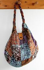 NEW LADIES WOMENS HAND SHOULDER TOTE BEACH PATCHWORK FABRIC BAG IN BROWN / BAGBR