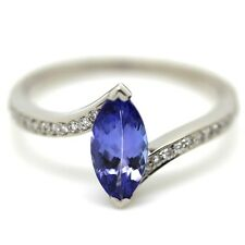 1.00 Carat Marquise Tanzanite with Diamond Ring in 18k White Gold