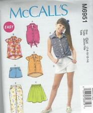 McCALL'S SEWING PATTERN CHILDREN'S/GIRLS TOPS SKIRT SHORTS & PANTS 7 - 14 M6951