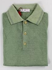 Luciano Barbera $695 Green Long Sleeve Polo Cashmere Silk Slim Fit F/W 2016 50 M