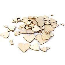 100 Plain Wooden Love Heart Shape CRAFT CARD MAKING SCRAPBOOKING Mixed Size