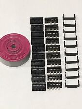 Flat Cable 16 Pins Wires IDC Ribbon 2.54mm pitch 12ft & (10 set) connectors USA