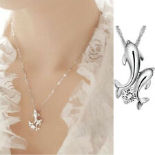925 Sterling Silver Women Elegant Jewelry Double Dolphin Pendant Chain Necklace