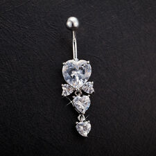 Navel Belly Bar Crystal Dangly Body Piercing Belly Button Ring Triple Heart Bow