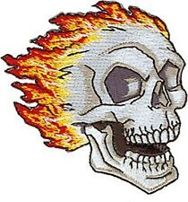 White Skull with Flames iron-on/sew-on embroidered patch  (cv)