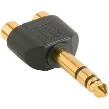 """1/4"""" Stereo Male to 2 RCA Female Y Adapter Plug"""