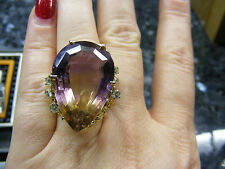 14k Huge Pear Ametrine Amethyst Citrine Diamond Cocktail Ring Yellow Gold