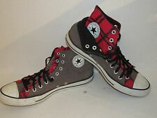 CONVERSE CHUCK TAYLOR ALL STARS Gray Red Plaid  DOUBLE HIGH Shoes  Men12 Woman14