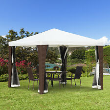 Outsunny 10'x 10' Rattan Wicker Gazebo Canopy Party Tent with Mesh Walls White