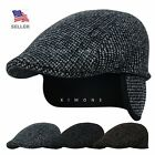 NB Earflap Newsboy Gatsby Cap Ivy Hat Golf Mens Flat Cabbie Stripe Winter