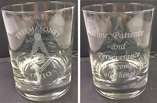 Laser Engraved Masonic 12 oz. On the Rocks Glass w/ saying (Sold in groups of 2)
