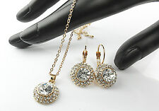 2pcs jewelery set Swarovski® crystals Zirconia GOLD necklace CRYSTAL + CASE KB24