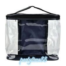 Travel Makeup Bag Wash Organizer Storage Transparent Dark Blue Zipper Pouch Case