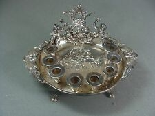 ANTIQUE FOOTED ROUND STERLING SILVER JUDAICA MENORAH W ROSES & CHERUBS
