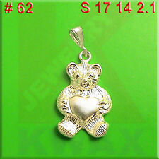 # 62 Teddy Bear With Hear Charm Sterling Silver .925 Pendant Necklace