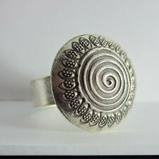 Fine Silver Rings Hill tribe Karen Argento Anello Band Tribal Engrave Spiral L38