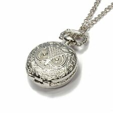 H1 Quartz Pendant Pocket Watch Chain Alloy Silver Arabic Numeral Owl