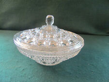 VINTAGE CLEAR LIDDED CANDY DISH W HEXAGON PATTERN / FINIAL