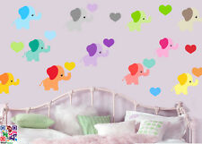 Childrens Elephants with Hearts Pack of 22 Wall Art Stickers Nursery Decals