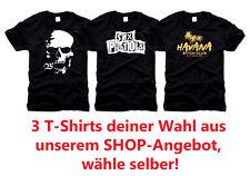 3 Design T-Shirts, freie Auswahl aus unserem Shop! Top-Angebot