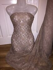"1 MTR (NEW ) BEIGE COTTON THREAD LYCRA STRETCH LACE FABRIC.. 65"" WIDE £4.99"
