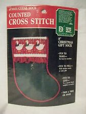 """Cross Stitch KIT Stocking  8"""" New Holiday Decorations Geese Christmas Sock"""