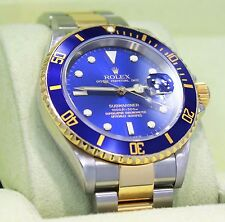 Rolex Submariner 16613 18K Yellow Gold /Steel Blue Bezel Watch BOX/PAPERS *MINT*