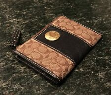 Authentic COACH Signature Fabric & Leather Credit Card ID Coin Purse Key Chain