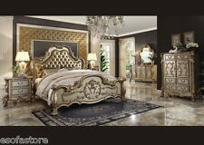 Antique Traditional Dresden Gold patina Queen 5 Pc Bedroom set #23160