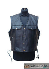 Gilet Uomo Warrior Pelle Nero Laccetti Leather Vest Black Biker Moto TG. S