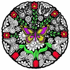 Butterfly Mandala - Large 20x20 Inch Fuzzy Velvet Coloring Poster