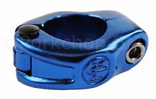 "MX hinged old school BMX bicycle seat post clamp - 25.4mm (1"") COBALT BLUE"