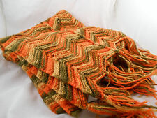Handmade Crochet Afghan Knit Throw Chevron Zig Zag Patern Blanket 70s 80s 29x48""