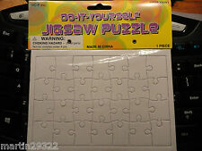 "Rectangle Blank Puzzle DIY Jigsaw, 28 Pcs. 6-3/4"" X 4-3/4"" X 3/64"" Pack of 6"