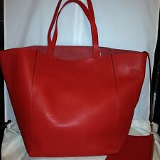 CELINE Phantom Cabas Large Red Leather Tote Shopping Bag Shopper w Clutch Pouch