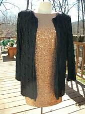 Black Beaded CERVELLE  Holiday Wedding Formal Jacket size M