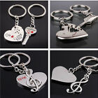1set Couple Silver Love Heart Musical Note Key Ring Keyfob Keychain Lovers Gift