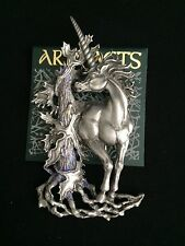 JJ Jonette Vintage Signed Artifacts UNICORN LARGE Pewter Brooch Pin New Mystical